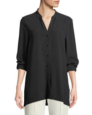 Silk Georgette Crepe Button Front Top by Eileen Fisher