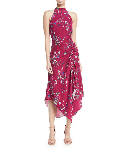 Jagger Floral-Print Ruched Dress