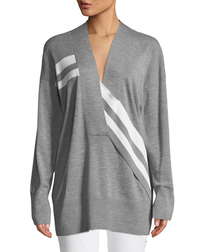 Grace V-Neck Long-Sleeve Wool with Stripes