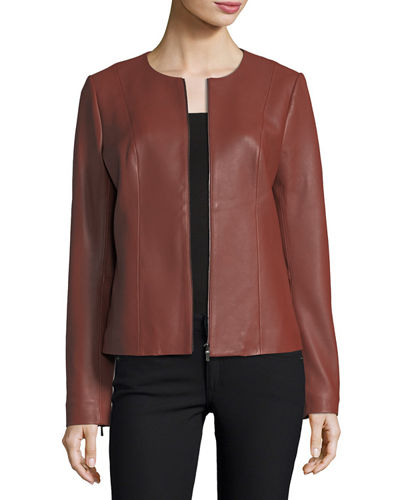 Center-Zip Leather Jacket