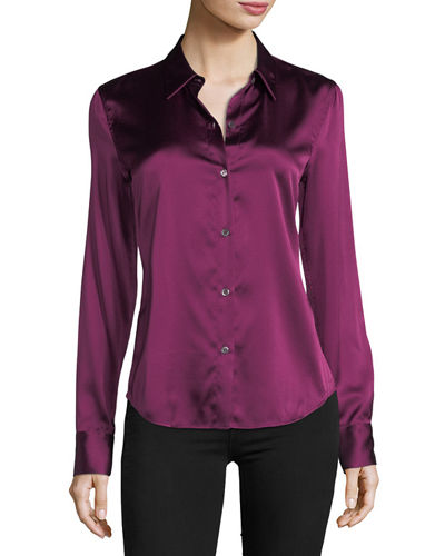 Perfect Fitted Button-Front Stretch-Satin Shirt