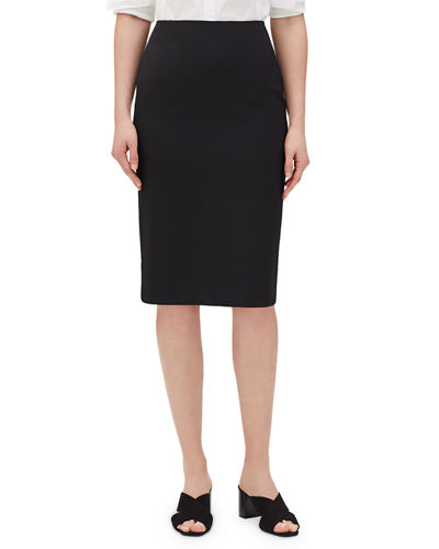 Mid-Rise Wool Pencil Skirt