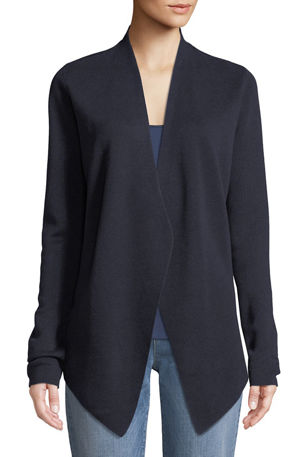 Eileen Fisher Plus Size Angle-Front Silky Tencel Cardigan