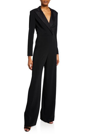 Jay Godfrey Roland V-Neck Long-Sleeve Tuxedo Jumpsuit