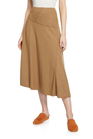 Vince Paneled Wool-Blend Midi Skirt