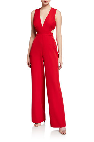 Aidan by Aidan Mattox Plunge-Neck Sleeveless Crepe Jumpsuit with Cutouts