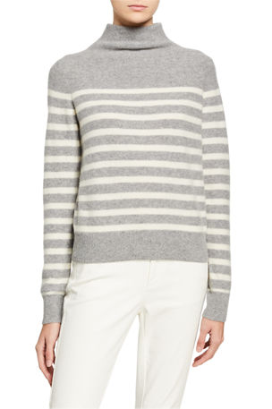 Vince Breton Stripe Cashmere Turtleneck Sweater