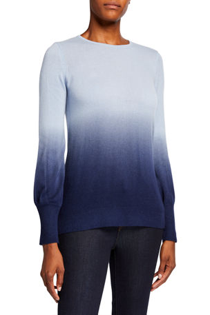 Neiman Marcus Cashmere Collection Dip Dye Crewneck Balloon-Sleeve Cashmere Sweater