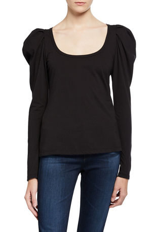 A.L.C. Sewell Puff-Sleeve Scoop-Neck Tee