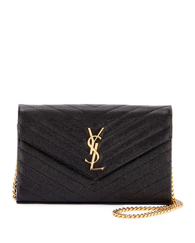 Saint Laurent Monogram Matelassé Leather Wallet-on-Chain