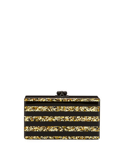 Jean Confetti-Striped Box Clutch Bag