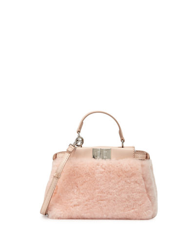Peekaboo Micro Shearling Satchel Bag