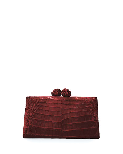 Crocodile Knot-Top Clutch Bag