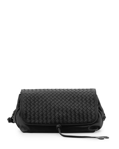 Intrecciato Medium Flap Crossbody Bag, Black