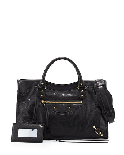 Classic Gold City Lambskin Tote Bag, Black (Noir)