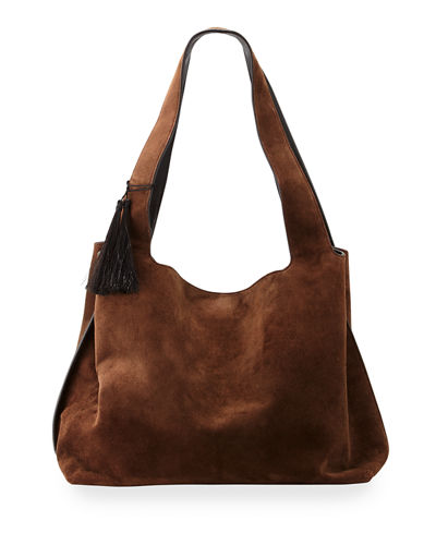 Duplex Suede Satchel Bag, Chocolate
