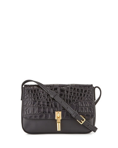 Cynnie Crocodile-Embossed Micro Crossbody Bag