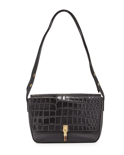 Cynnie Crocodile-Embossed Shoulder Bag