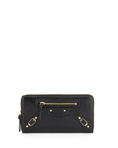 Classic Continental Zip-Around Wallet, Black