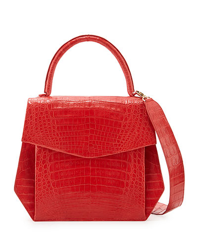 Crocodile Large Structured Top-Handle Bag