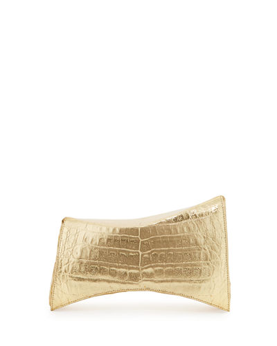 Angular Crocodile Clutch Bag, Soft Gold Mirror