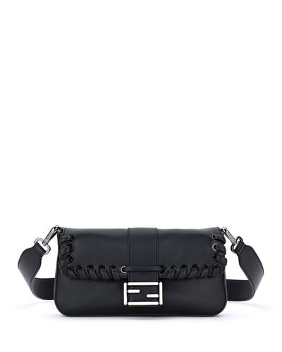 Baguette Whipstitch Leather Shoulder Bag, Black