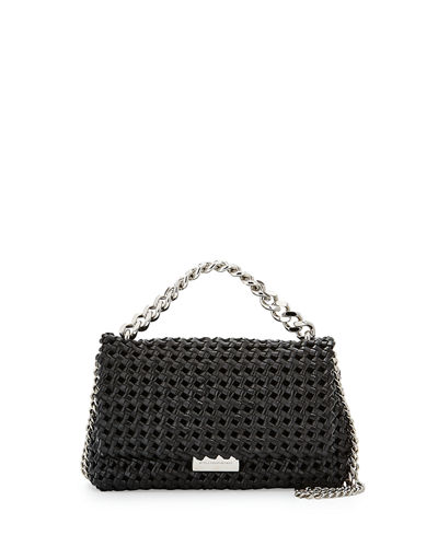 Bex Small Woven Flap Shoulder Bag, Black