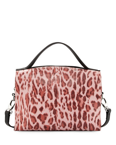Charles Jourdan Ophelia Leopard-Print Leather Satchel Bag