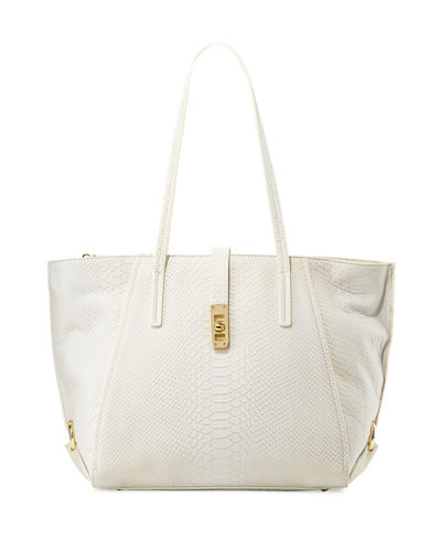 Charles Jourdan Ondine Snake-Embossed Leather Tote Bag