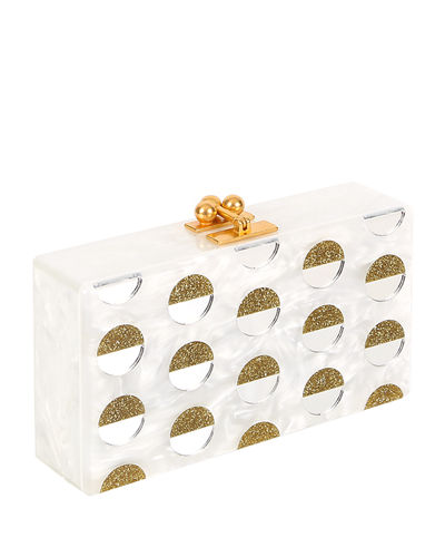 Jean Double Dot Box Clutch Bag