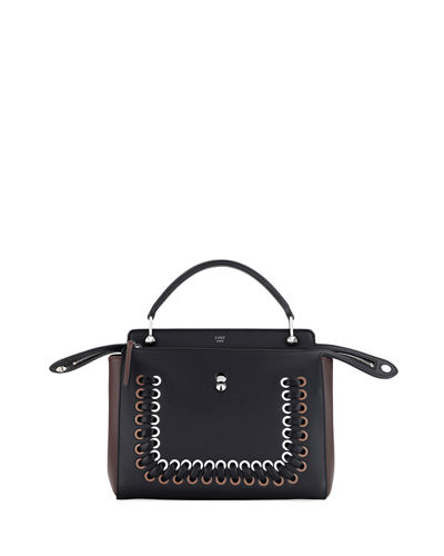 Fendi Dotcom Medium Whipstitch Satchel Bag