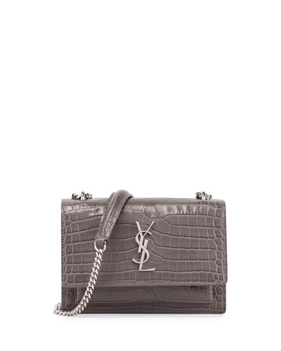 Sunset Monogram Small Crocodile-Embossed Crossbody Bag