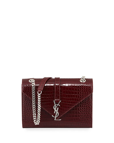 Monogram Medium Crocodile-Embossed Envelope Chain Shoulder Bag