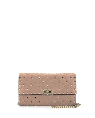 Rockstud Small Matelassé Leather Wallet-on-Chain