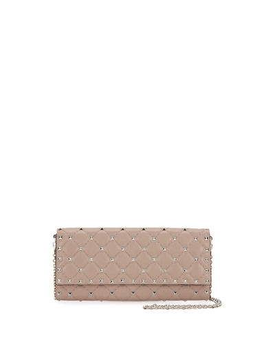 Rockstud Matelassé Flat Continental Wallet-on-Chain