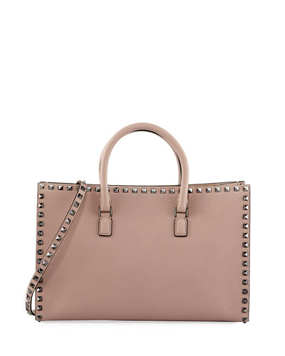 Rockstud Leather Top-Handle Tote Bag