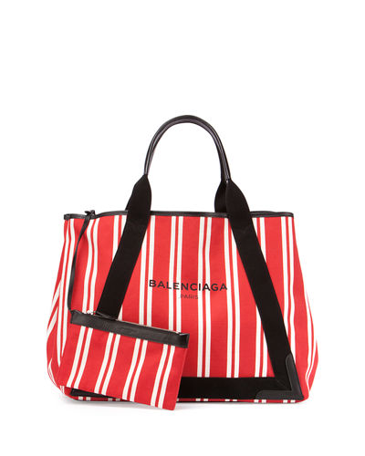 Balenciaga Cabas Medium Striped Tote Bag