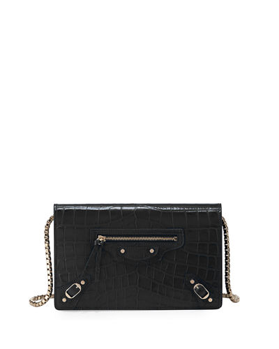 Balenciaga Classic Crocodile-Effect Wallet-on-Chain