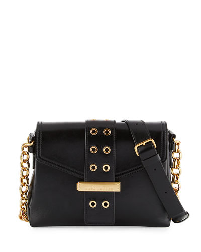Lock & Strap Leather Shoulder Bag