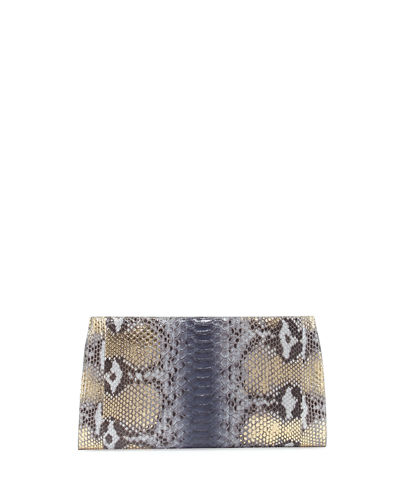 Metallic Python Slicer Clutch Bag