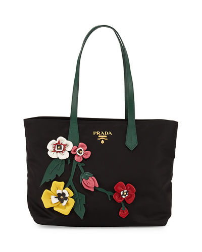 Prada Tessuto Medium Flowers Shopping Tote Bag