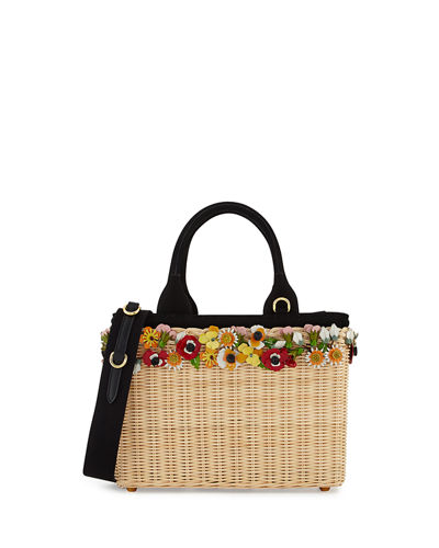 Midollino Garden Flowers Straw Basket Bag