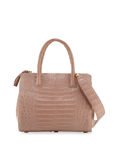 Crocodile Medium Double-Zip Tote Bag
