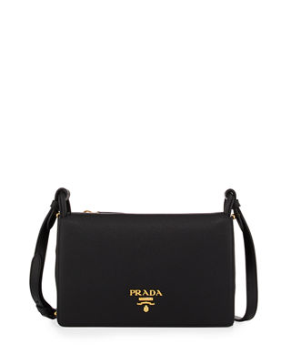 VITELLO DAINO DOUBLE-GUSSET SHOULDER BAG, BLACK