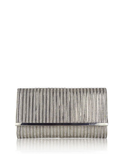 Manhattan Crystal Chain Clutch Bag, Silver Jet