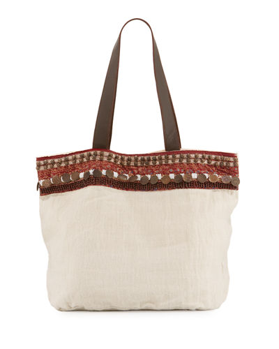 Cleopatra Beaded & Embellished Linen Tote Bag