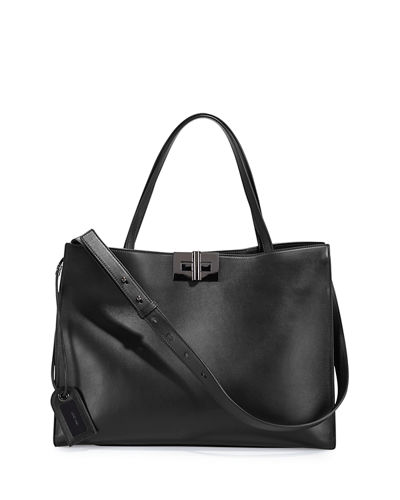 Natalia Leather Turn-Lock Tote Bag