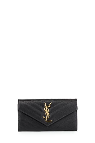 Saint Laurent Monogramme Large Grain de Poudre Leather Flap Wallet