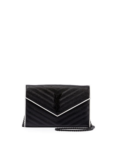 Saint Laurent Monogram Matelassé Two-Tone Wallet-on-Chain