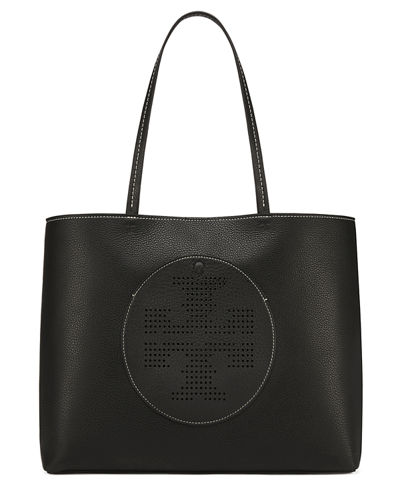 Leather Perforated Logo Tote Bag